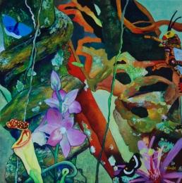 Tuin van Eden 1 - Jungle in het klein, Acryl op doek, 30x30cm, 2012