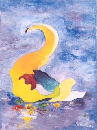 Zwaan 2, Acryl op doek, 20x30cm, 2005
